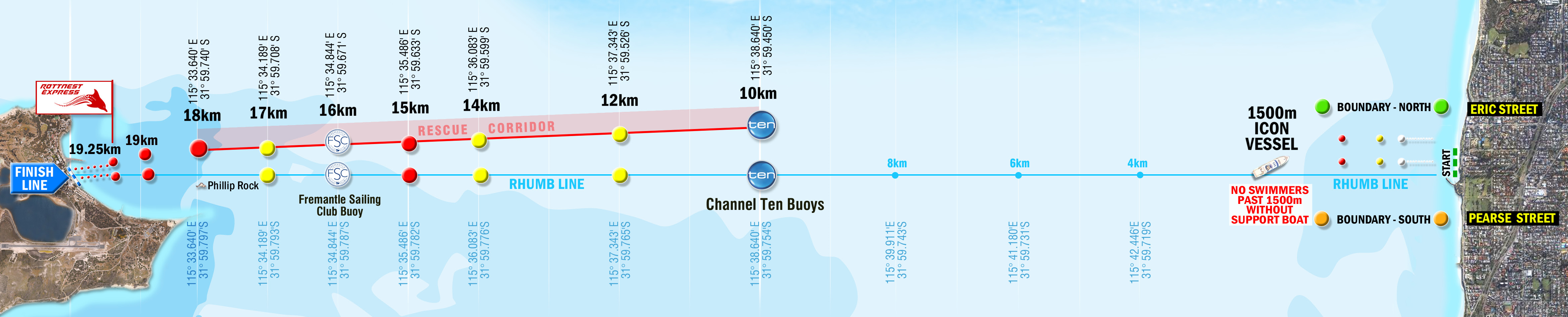 Kaart Rottnest Channel Swim