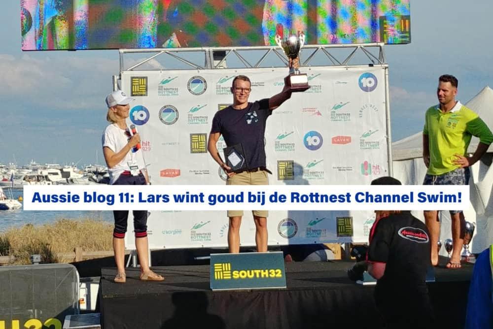 Lars Bottelier wint goud bij de Rottnest Channel Swim Rotto2020 - hij is een prof opewaterzwemmer en de beste open water zwemmer van Nederland